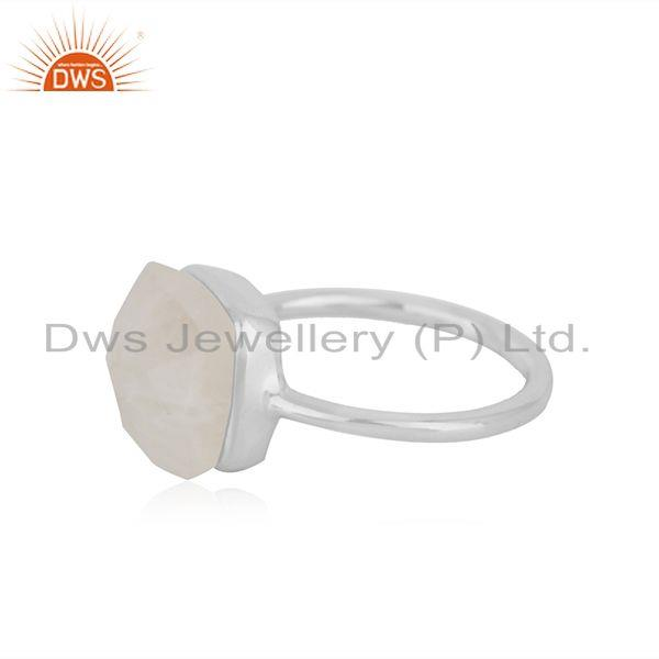 Best Quality Natural Rainbow Moonstone Fine Sterling Silver Ring Manufacturers