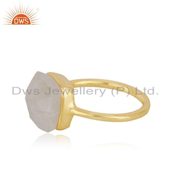 Genuine Rainbow Moonstone Gold Plated 925 Sterling Silver Girls Ring Wholesale