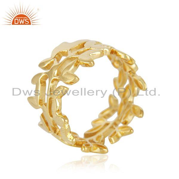 Supplier of Olive Leaf Handmade 925 Sterling Silver 14K Gold Plated Band Rings in Jaipur