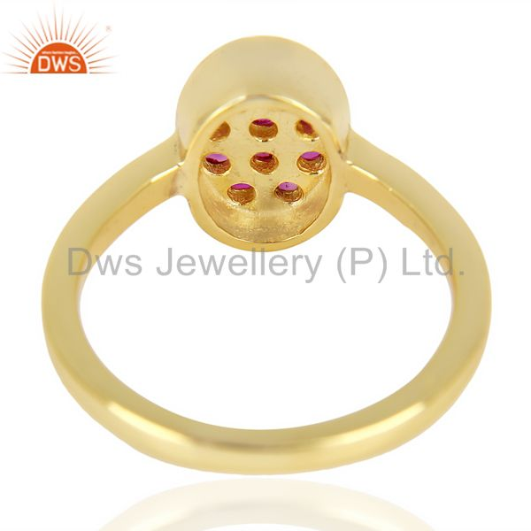 Top Quality Natual Ruby Oval Shape 14K Gold Plated 92.5 Sterling Silver Solid Ring