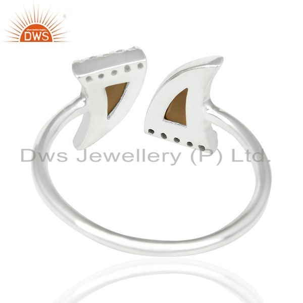 Top Quality Smoky Topaz Two Horn Cz Studded Openable Adjustable 92.5 Sterling Silver Ring