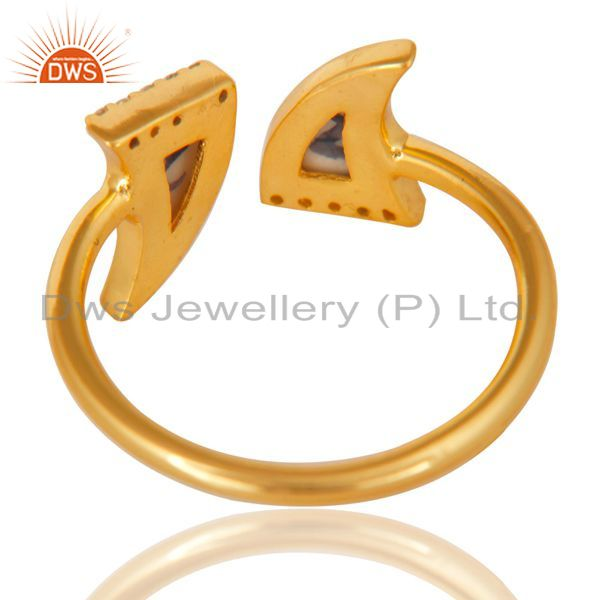 Best Quality Howlite Two Horn Cz Studded Adjustable 14K Gold Plated 92.5 Silver Ring