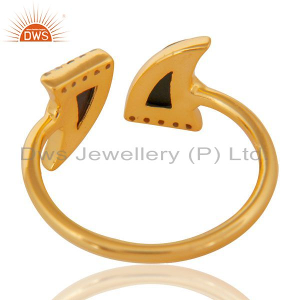 Top Selling Black Onyx Two Horn Cz Studded Adjustable 14K Gold Plated 92.5 Silver Ring