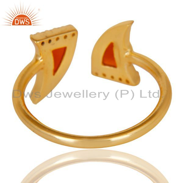 Top Selling Red Onyx Two Horn Cz Studded Adjustable 14K Gold Plated 92.5 Silver Ring