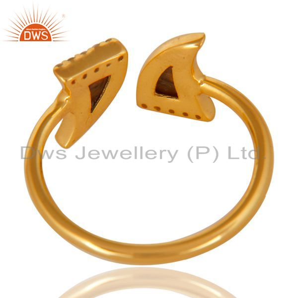 Best Quality Tigereye Two Horn Cz Studded Adjustable 14K Gold Plated 92.5 Silver Ring