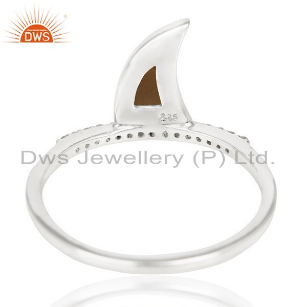 Best Selling Smoky Topaz Horn Cz Studded Adjustable 92.5 Sterling Silver Ring