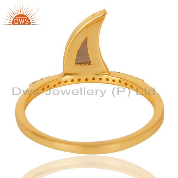 Best Quality Smoky Topaz Horn Cz Studded Adjustable 14K Gold Plated 92.5 Sterling Silver Ring