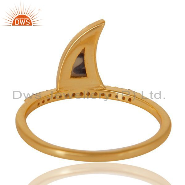 Top Selling Howlite Horn Cz Studded Adjustable 14K Gold Plated 92.5 Sterling Silver Ring