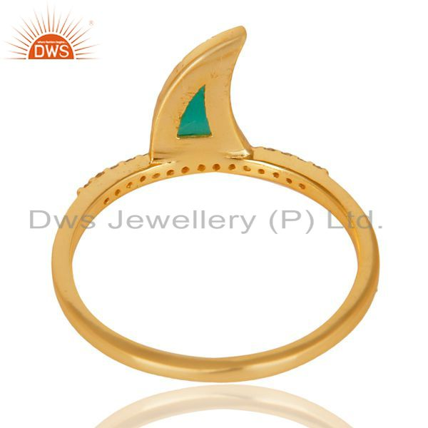 Top Selling Green Onyx Horn Cz Studded Adjustable 14K Gold Plated 92.5 Sterling Silver Ring