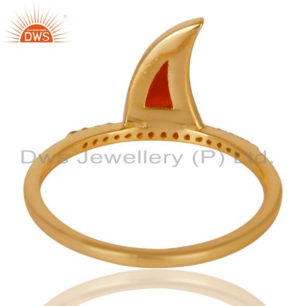 Best Quality Red Onyx Horn Cz Studded Adjustable 14K Gold Plated 92.5 Sterling Silver Ring
