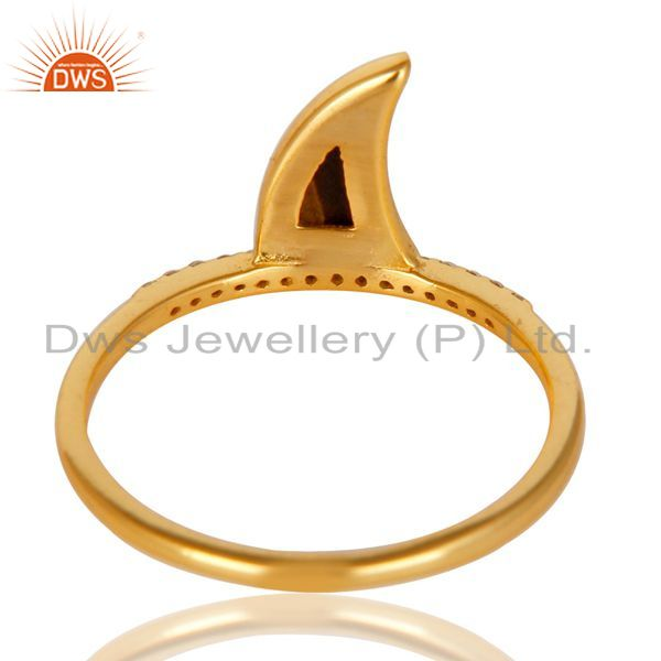 Top Selling Tigereye Horn Cz Studded Adjustable 14K Gold Plated 92.5 Sterling Silver Ring