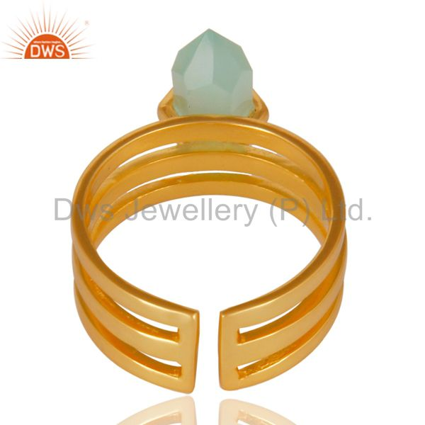 Best Quality Aqua Chalcedony Wide Horn Adjustable 14K Gold Plated Sterling Silver Ring