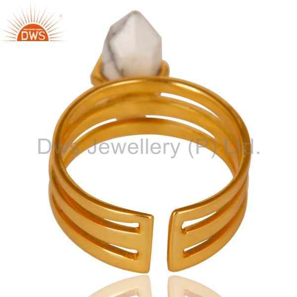 Best Selling Howlite Wide Horn Adjustable 14K Gold Plated Sterling Silver Ring