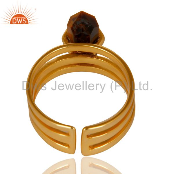 Top Selling Tigereye Wide Horn Adjustable 14K Gold Plated Sterling Silver Ring