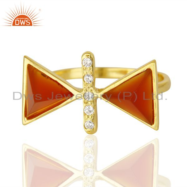Best Quality Red Onyx Triangle Cut Pyramid Cz Studded 14 K Gold Plated Silver Ring