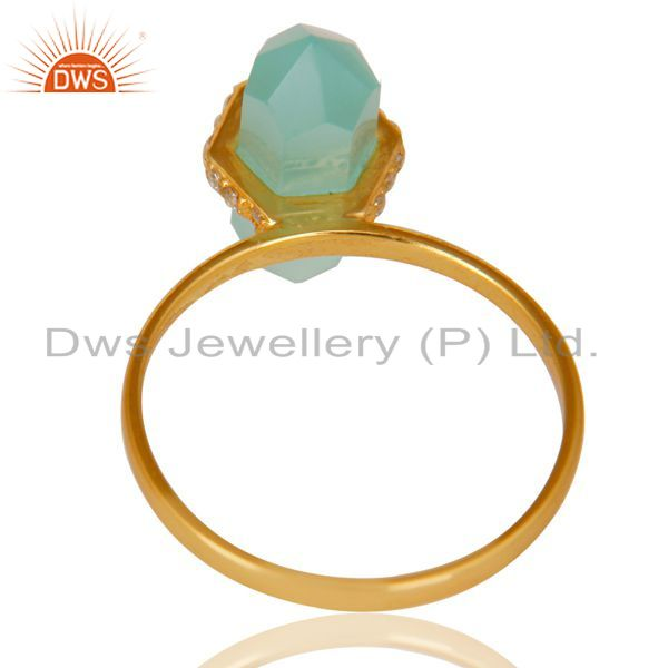 Best Selling Aqua Chalcedony Cz Studded Double Terminated Pencil Gold Plated Silver Ring