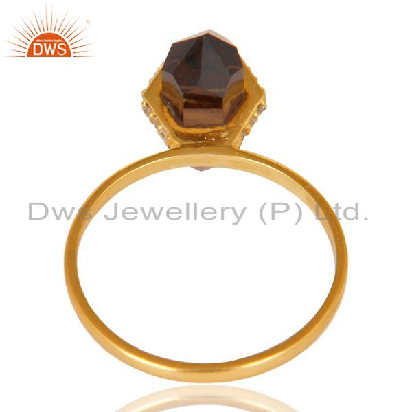 Top Quality Smoky Topaz Cz Studded Double Terminated Pencil Gold Plated Silver Ring