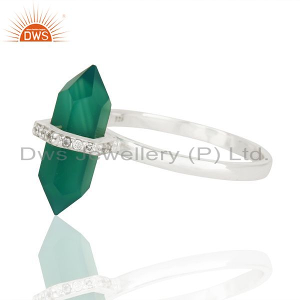 Top Selling Green Onyx Cz Studded Double Terminated Pencil 92.5 Sterling Silver Ring