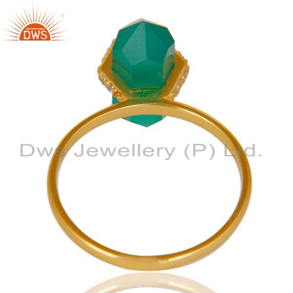 Best Selling Green Onyx Cz Studded Double Terminated Pencil Gold Plated Silver Ring
