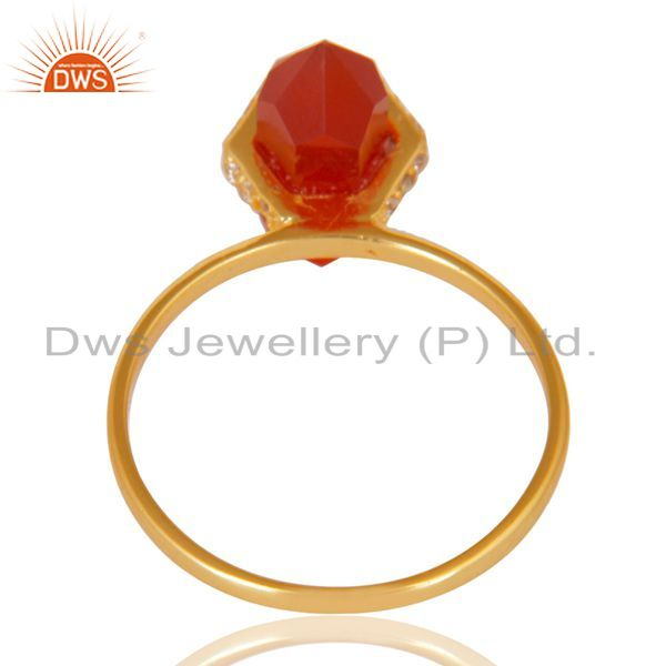 Top Quality Red Onyx Cz Studded Double Terminated Pencil Gold Plated Silver Ring