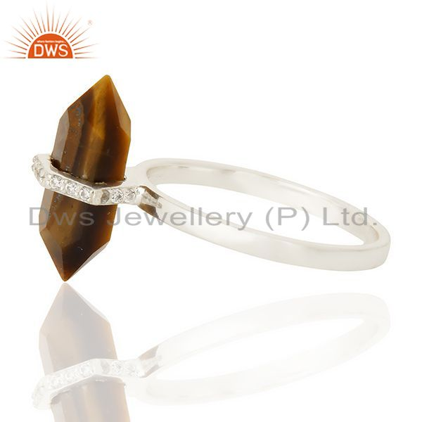 Top Selling Tigereye Cz Studded Double Terminated Pencil 92.5 Sterling Silver Ring
