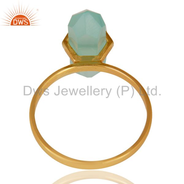 Top Quality Aqua Chalcedony Terminated Pencil Gold Plated 92.5Stelring Silver Wholesale Ring