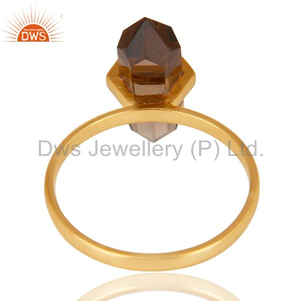 Best Selling Smoky Topaz Terminated Pencil Gold Plated 92.5 Stelring Silver Wholesale Ring