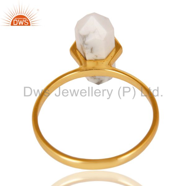 Top Quality Howlite Terminated Pencil Gold Plated 92.5Stelring Silver Wholesale Ring