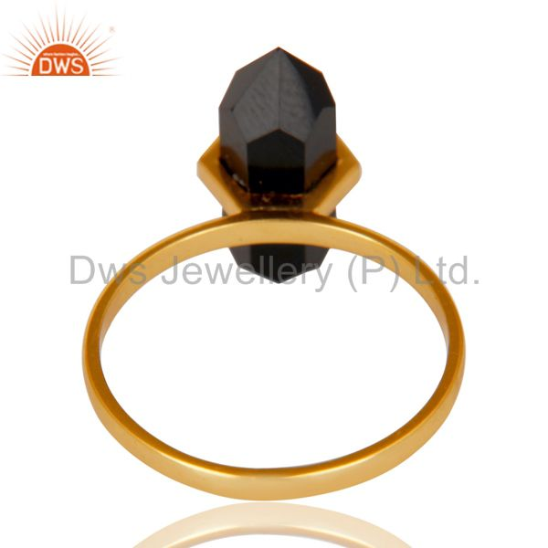 Top Selling Black Onyx Terminated Pencil Gold Plated 92.5 Stelring Silver Wholesale Ring