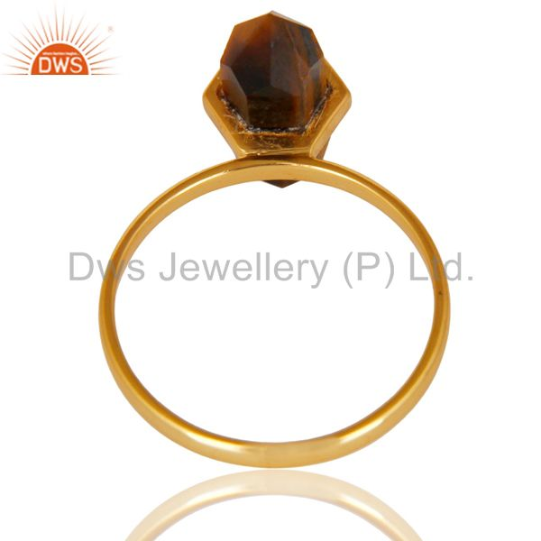 Top Selling Tigereye Terminated Pencil Gold Plated 92.5Stelring Silver Wholesale Ring