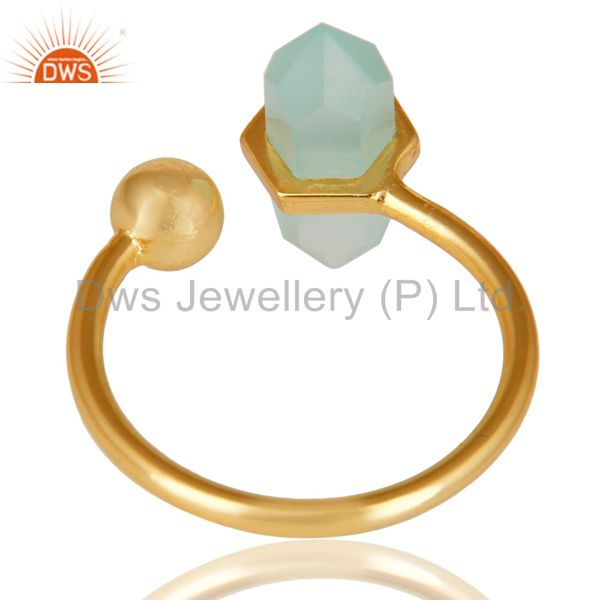 Best Quality Aqua Chalcedony Pencil Adjustable Openable Ball 14K Gold Plated 92.5 Silver Ring