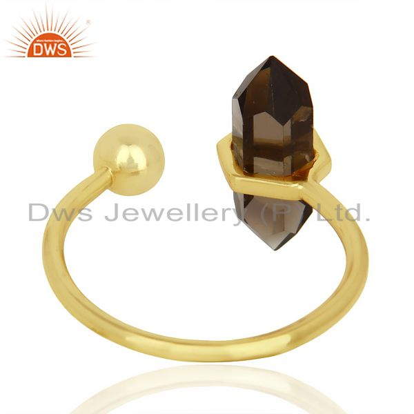 Top Selling Smoky Topaz Pencil Adjustable Openable Ball 14K Gold Plated Sterling Silver Ring