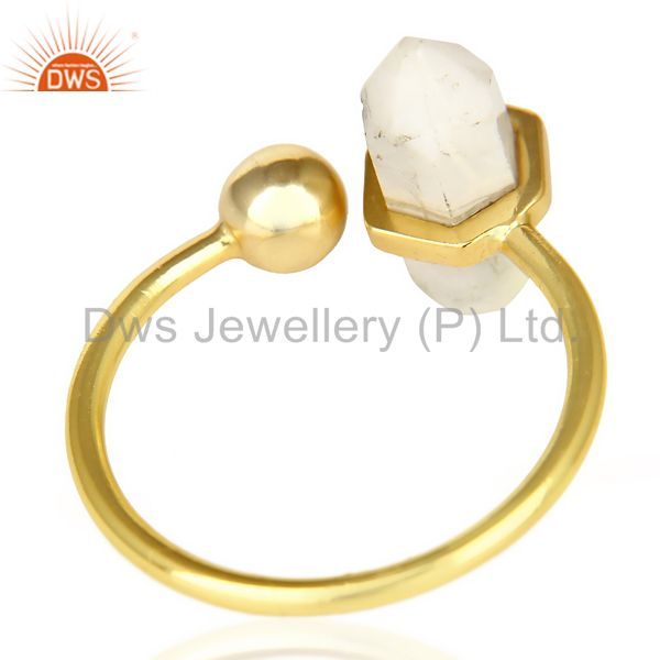 Best Selling Howlite Pencil Adjustable Openable Ball 14K Gold Plated Sterling Silver Ring