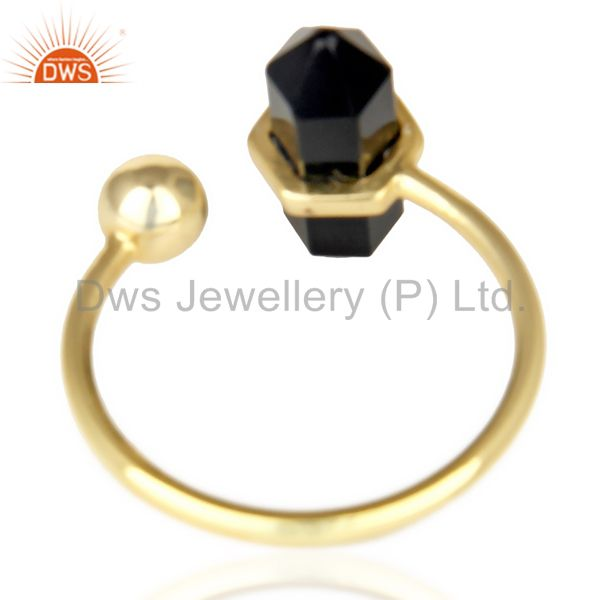Top Quality Black Onyx Pencil Adjustable Openable Ball 14K Gold Plated Sterling Silver Ring