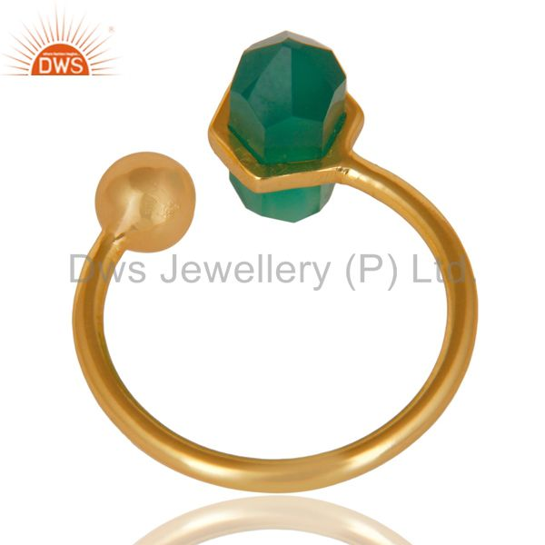 Best Selling Green Onyx Pencil Adjustable Openable Ball 14K Gold Plated Sterling Silver Ring