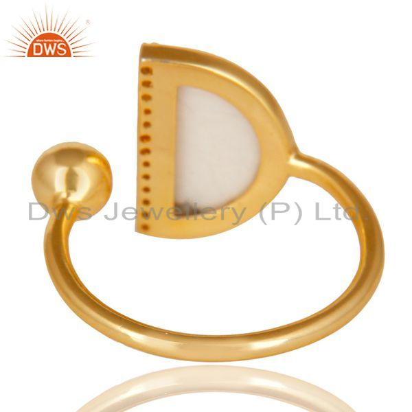 Top Selling Howlite Half Moon Ring Cz Studded 14K Gold Plated Sterling Silver Ring