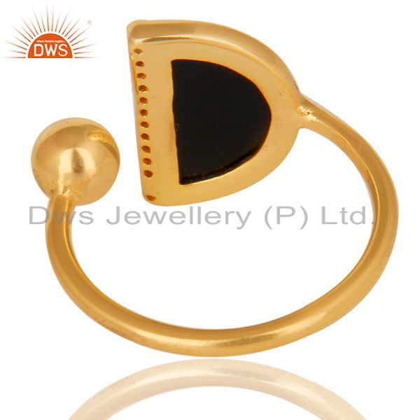 Best Quality Black Onyx Half Moon Ring Cz Studded 14K Gold Plated Sterling Silver Ring