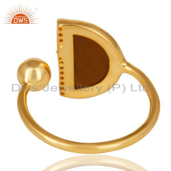 Top Selling Tigereye Half Moon Ring Cz Studded 14K Gold Plated Sterling Silver Ring