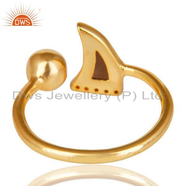 Top Selling Smoky Topaz Horn Ring Cz Studded Ball Ring Gold Plated Sterling Silver Ring