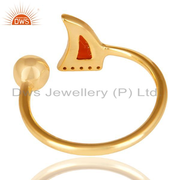 Top Selling Red Onyx Horn Ring Cz Studded Ball Ring Gold Plated Sterling Silver Ring
