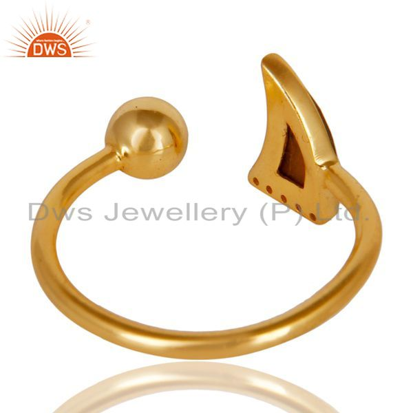 Best Quality Tigereye Horn Ring Cz Studded Ball Ring Gold Plated Sterling Silver Ring