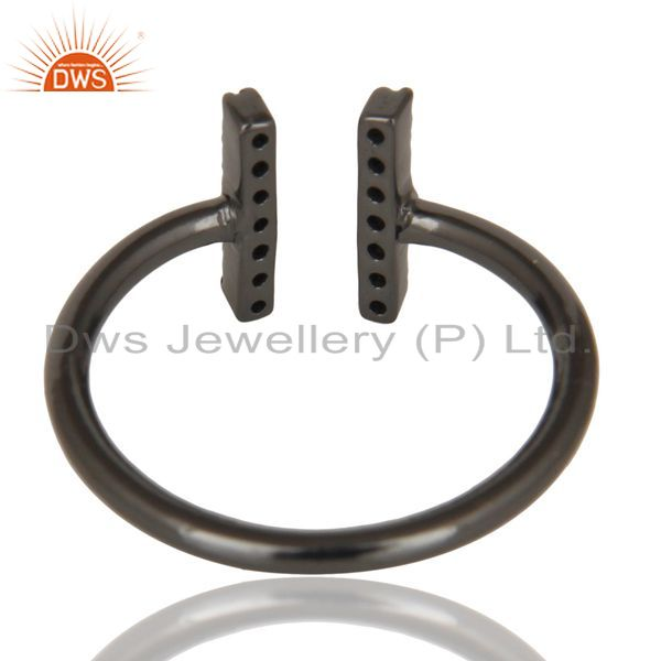Top Quality Cz Studded Parallel Ring Openable Parallel Ring Black Rhodium 92.5 Silver Ring