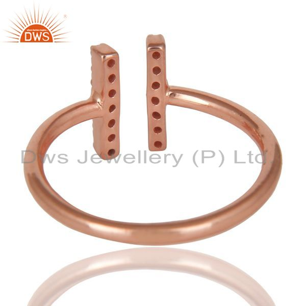 Best Quality Cz Studded Parallel Ring Openable Parallel Ring Rose GoldPlated 92.5 Silver Ring
