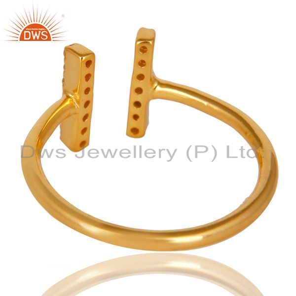 Top Selling Cz Studded Parallel Ring Openable Parallel Ring Gold Plated 92.5 Silver Ring