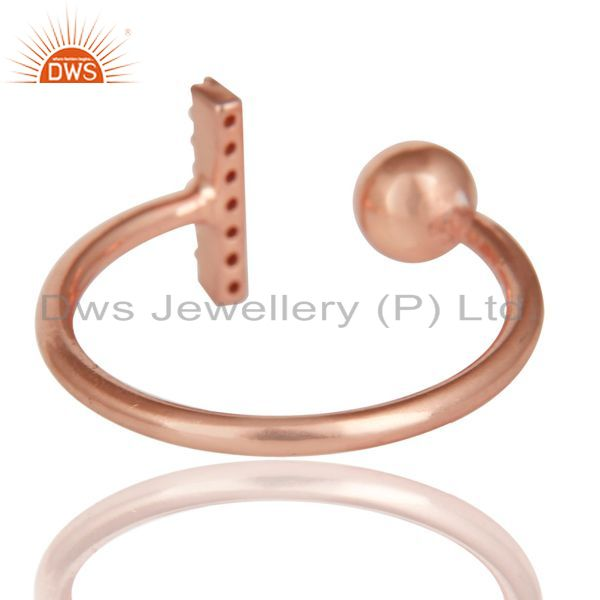 Best Quality CZ Gemstone Stackable 14K Rose Gold Plated 925 Sterling Silver Ring Jewelry