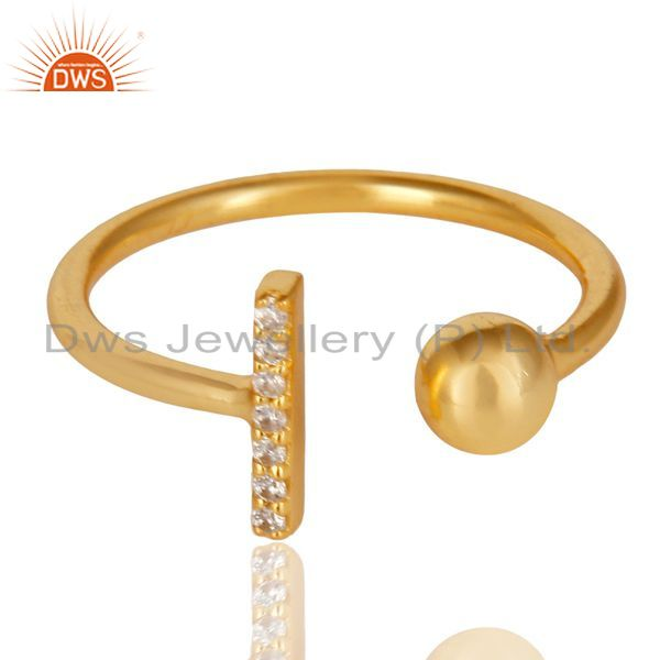 Top Selling CZ Gemstone Stackable 14K Yellow Gold Plated 925 Sterling Silver Ring Jewelry