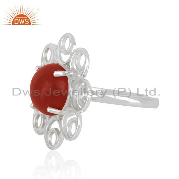 Top Selling Red Onyx Gemstone Fine Sterling Silver Floral Design Ring Manufacturer India