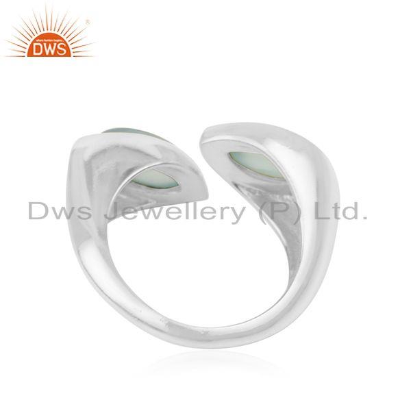 Manufacturer of Aqua Chalcedony Gemstone 925 Fine Sterling Silver Ring Wholesaler in India