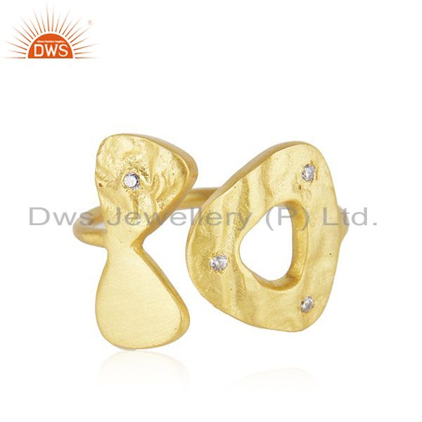 Wholesale White Zircon Yellow Gold Plated 925 Silver Designer Ring Manufacturer in Jaipur