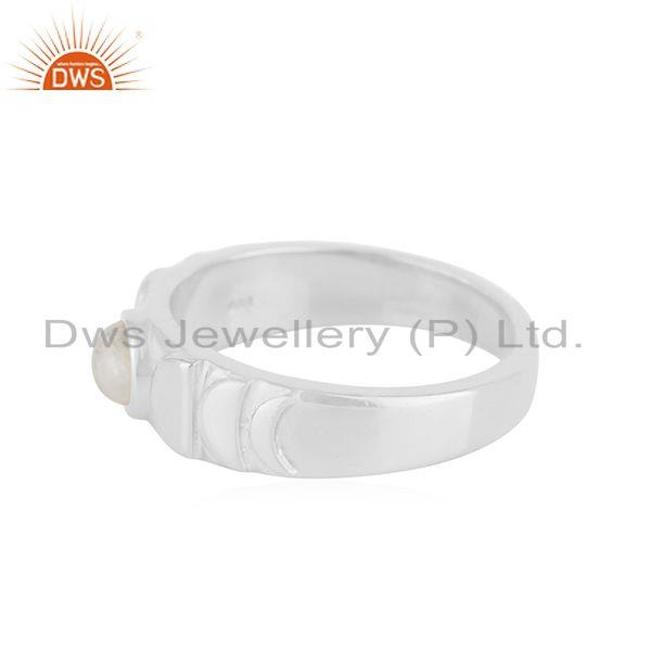 Manufacturer of Rainbow Moonstone Fine Sterling Silver Handmade Band Ring Manufacturer in India